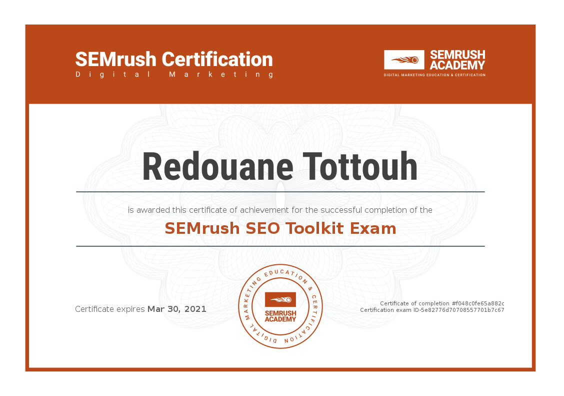 Certificate SEO Toolkit Exam
