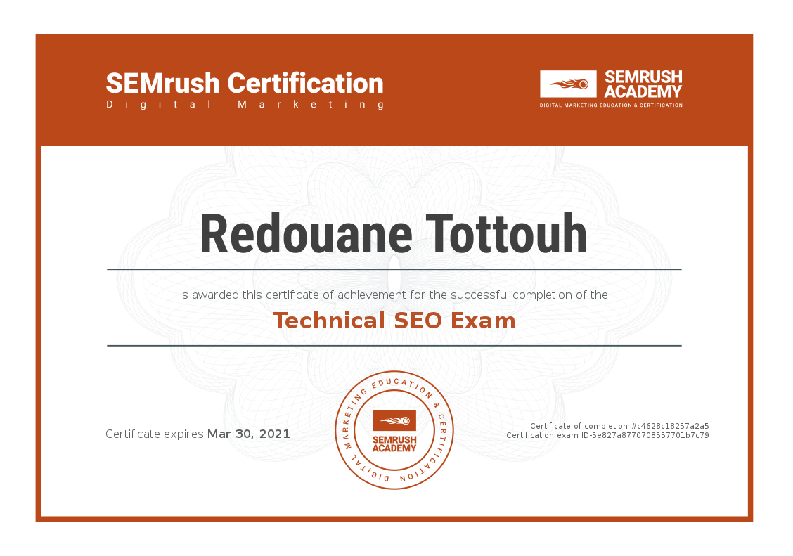 Certificate Technical SEO Exam