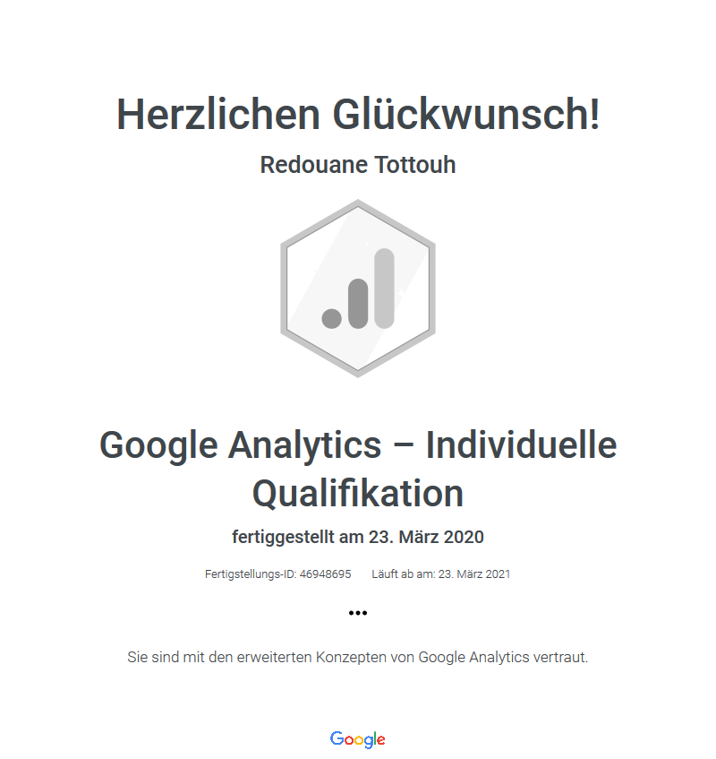Google Analytics - Individuelle Qualifikation