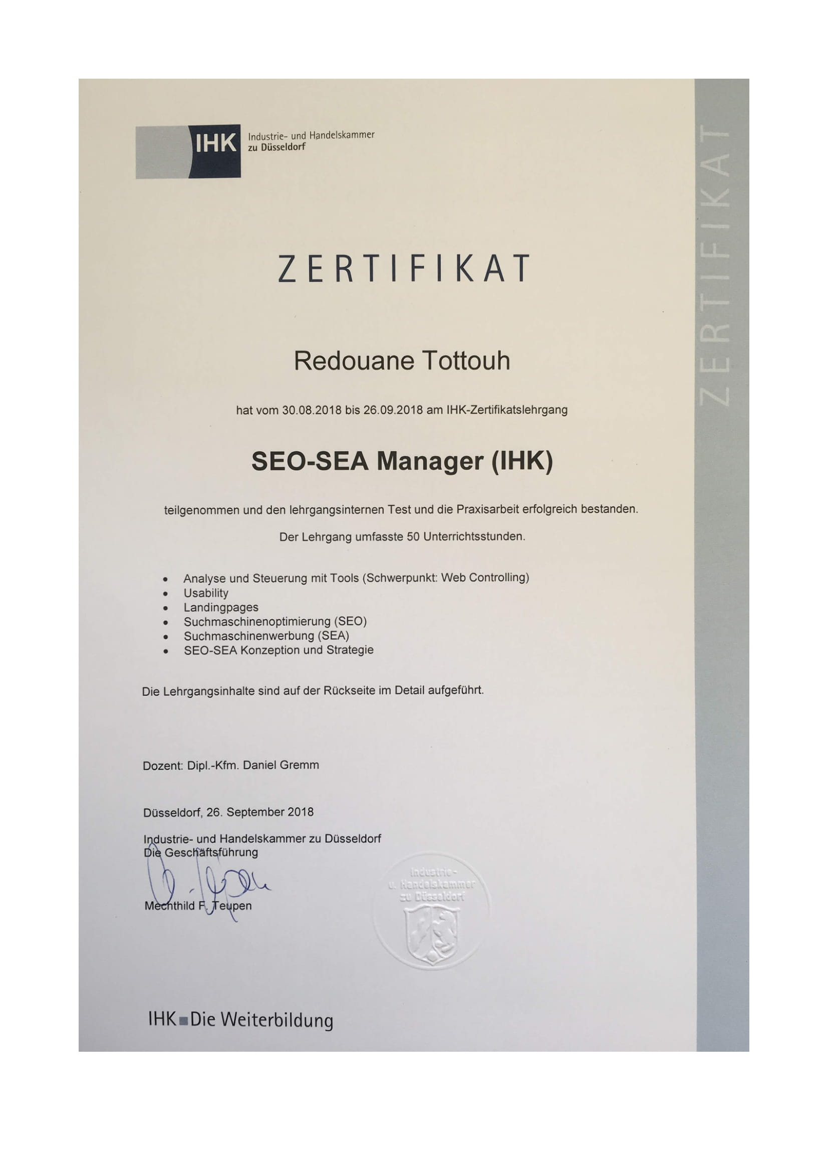 IHK Zertifikat - SEO / SEA Manager